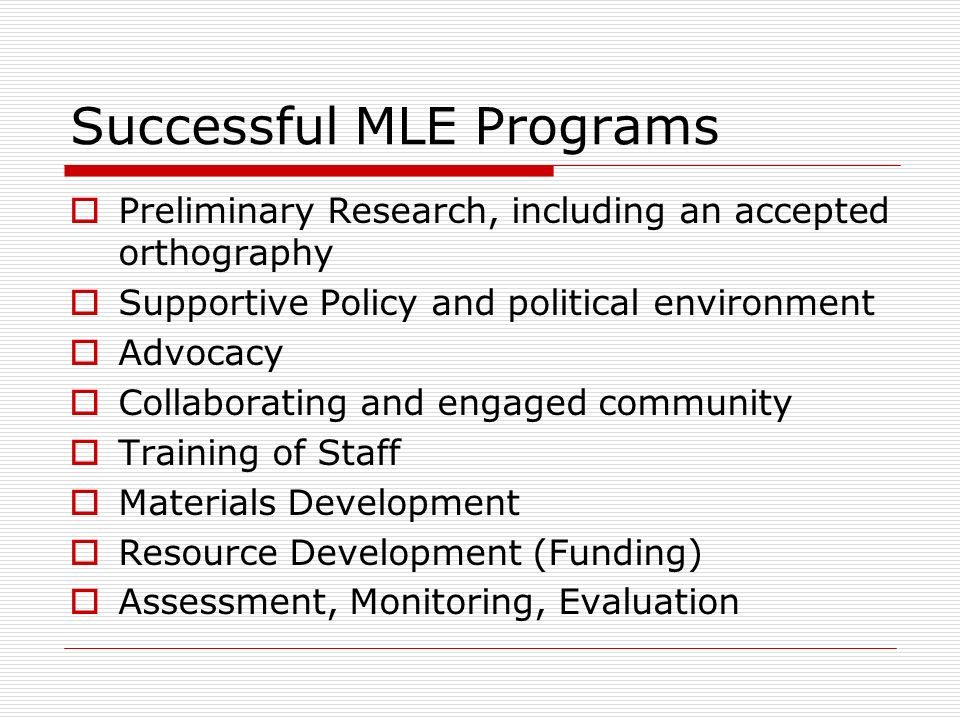 Successful MLE Programs