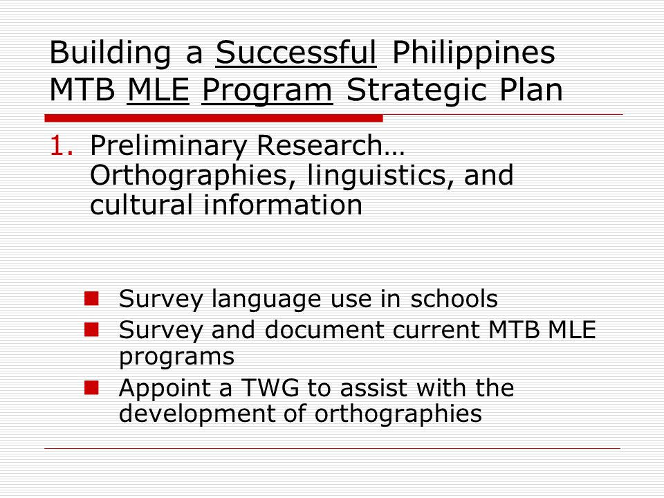 Building a Successful Philippines MTB MLE Program Strategic Plan