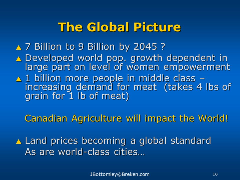 Canadian Agriculture will impact the World!