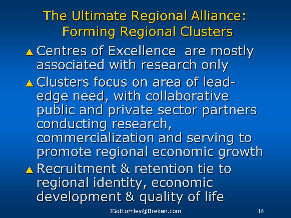 The Ultimate Regional Alliance: Forming Regional Clusters