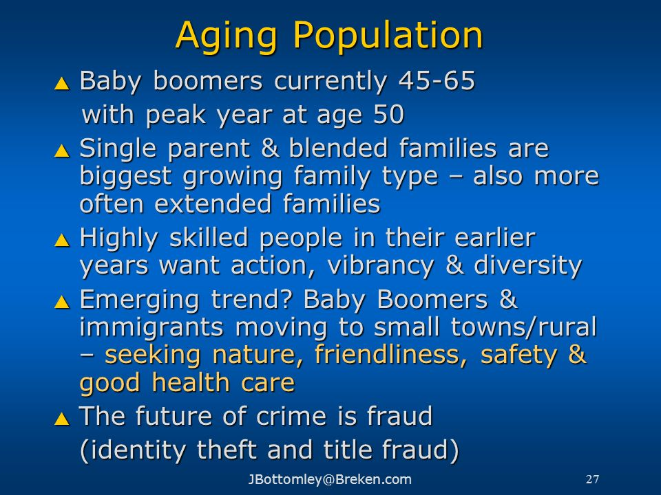 Aging Population Baby boomers currently 45-65 with peak year at age 50