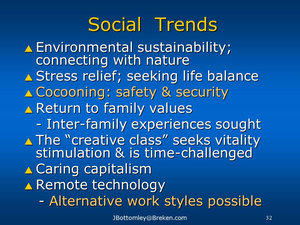Social Trends Environmental sustainability; connecting with nature