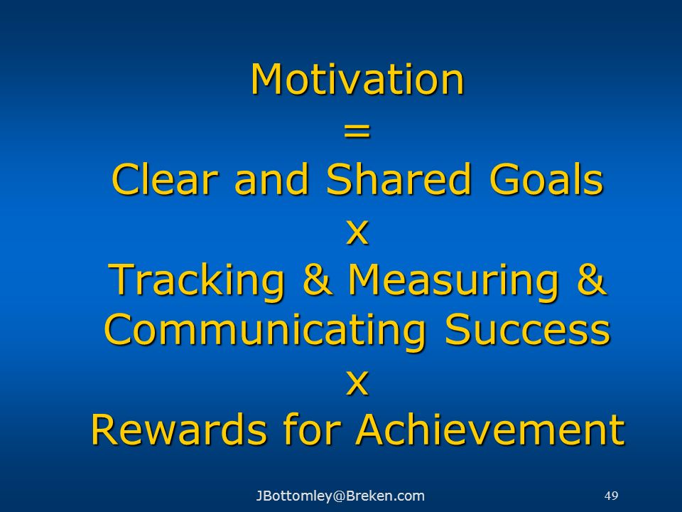 Motivation = Clear and Shared Goals x Tracking & Measuring & Communicating Success x Rewards for Achievement