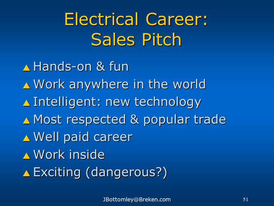 Electrical Career: Sales Pitch