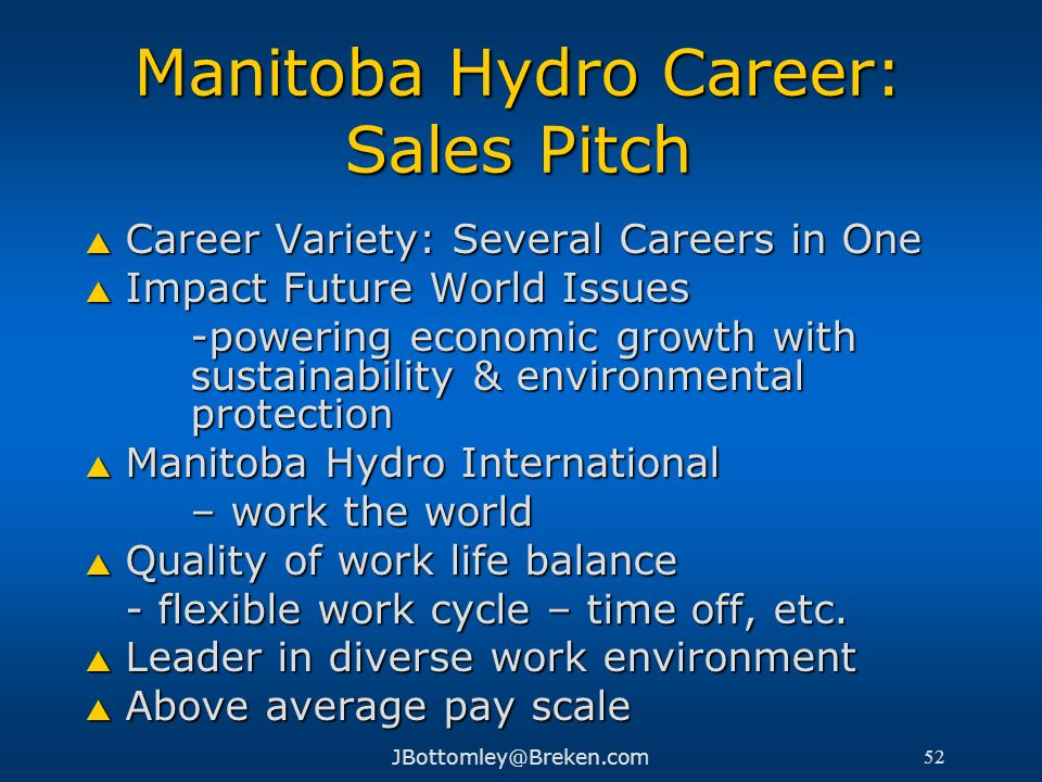 Manitoba Hydro Career: Sales Pitch