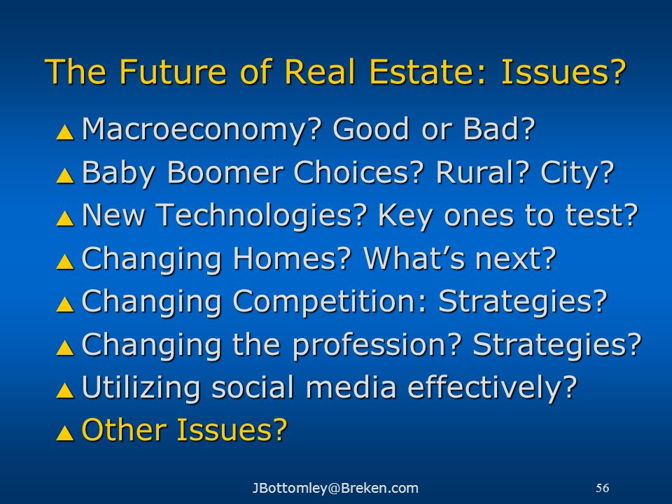 The Future of Real Estate: Issues