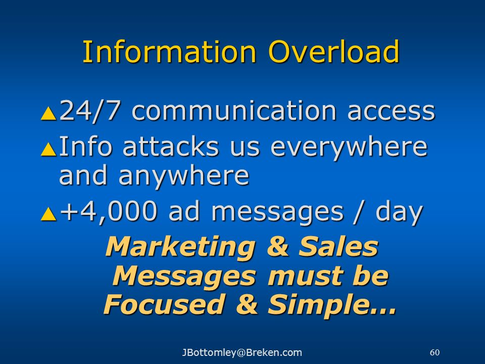 Marketing & Sales Messages must be Focused & Simple…