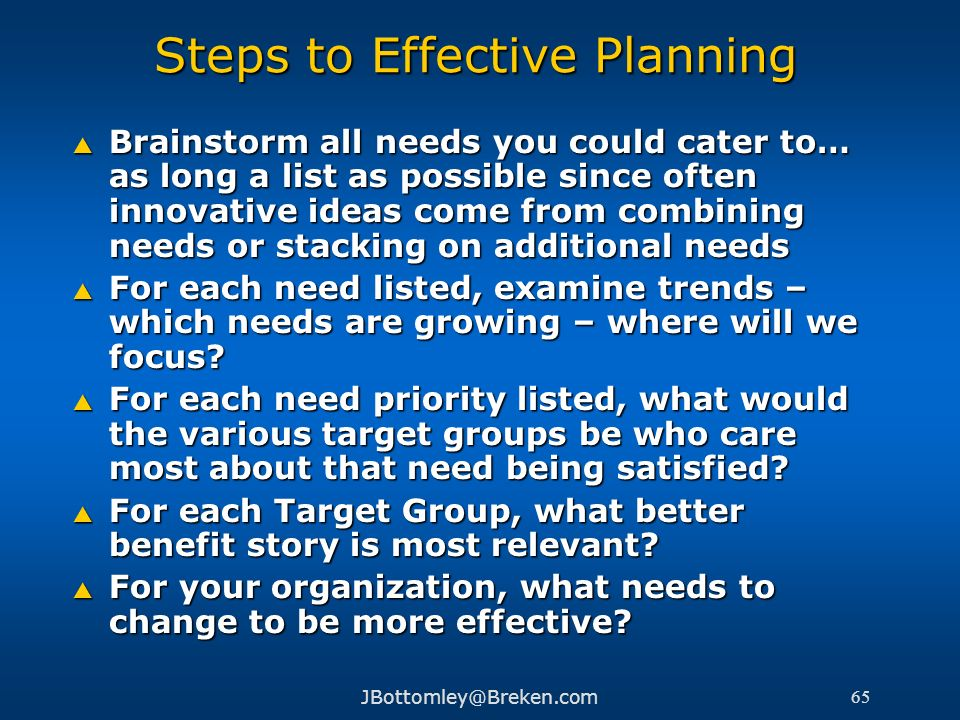 Steps to Effective Planning