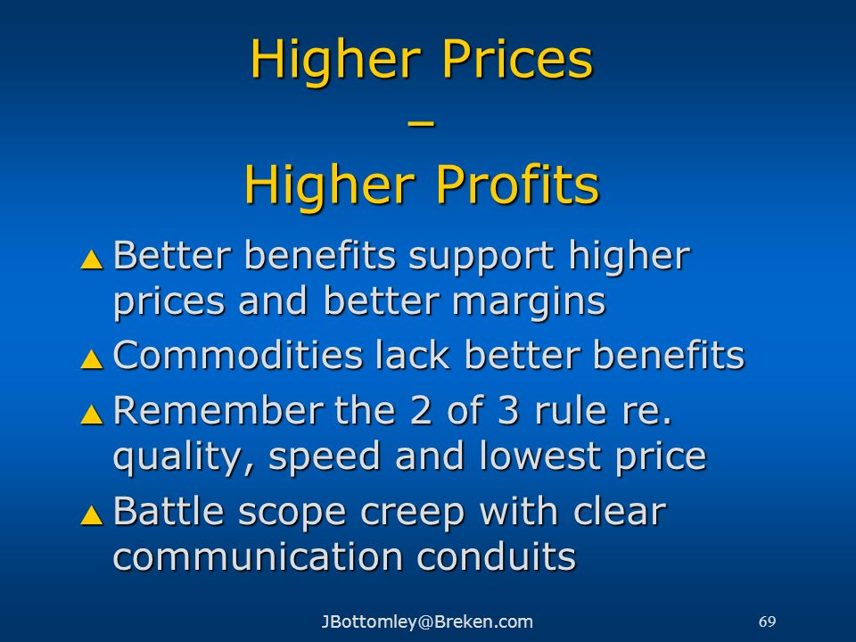 Higher Prices – Higher Profits