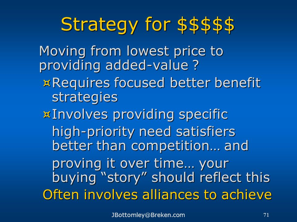 Strategy for $$$$$ Moving from lowest price to providing added-value