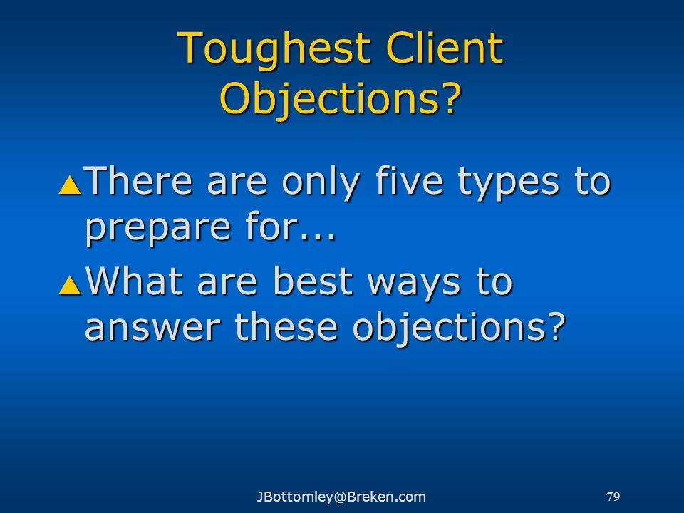 Toughest Client Objections
