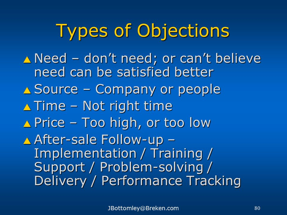 Types of ObjectionsNeed – don't need; or can't believe need can be satisfied better. Source – Company or people.
