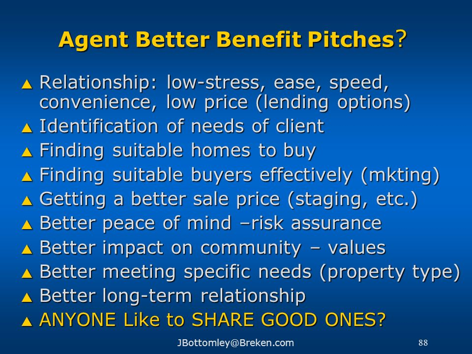 Agent Better Benefit Pitches