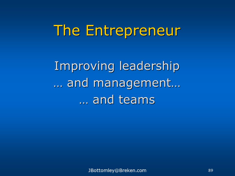 The Entrepreneur Improving leadership … and management… … and teams