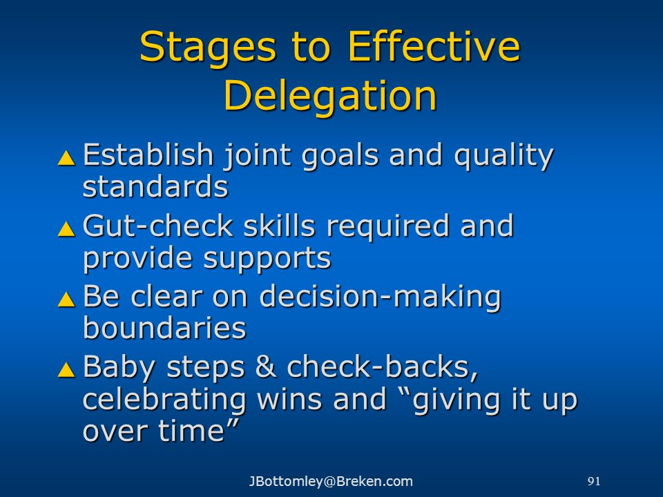 Stages to Effective Delegation