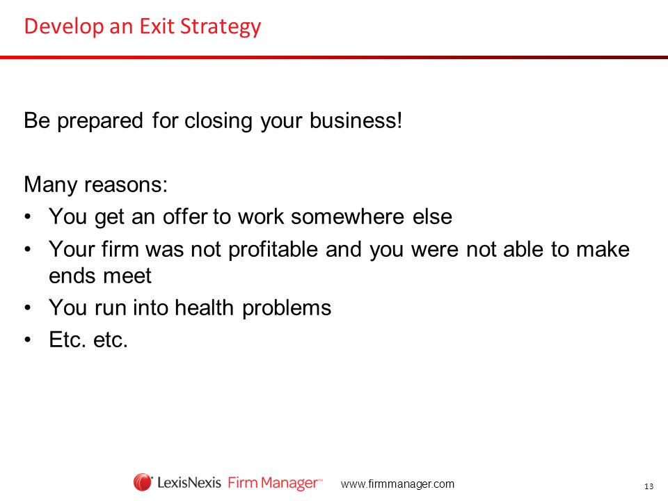 Develop an Exit Strategy