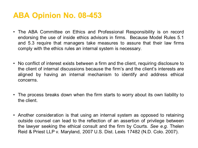 ABA Opinion No. 08-453
