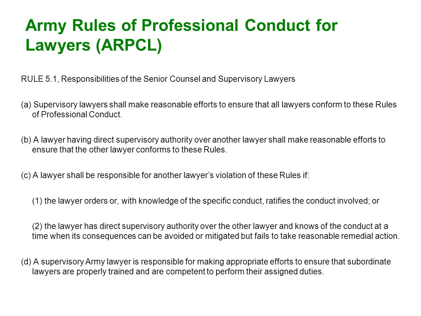 Army Rules of Professional Conduct for Lawyers (ARPCL)