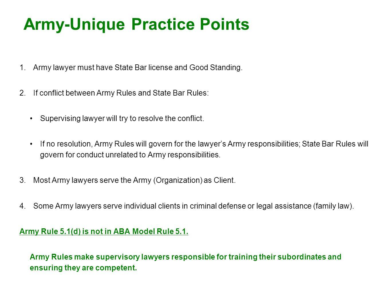Army-Unique Practice Points