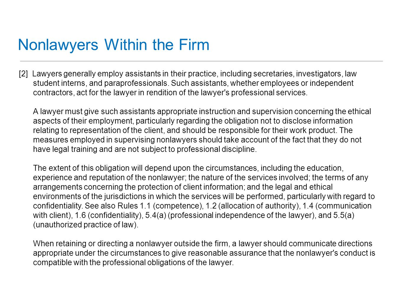 Nonlawyers Within the Firm
