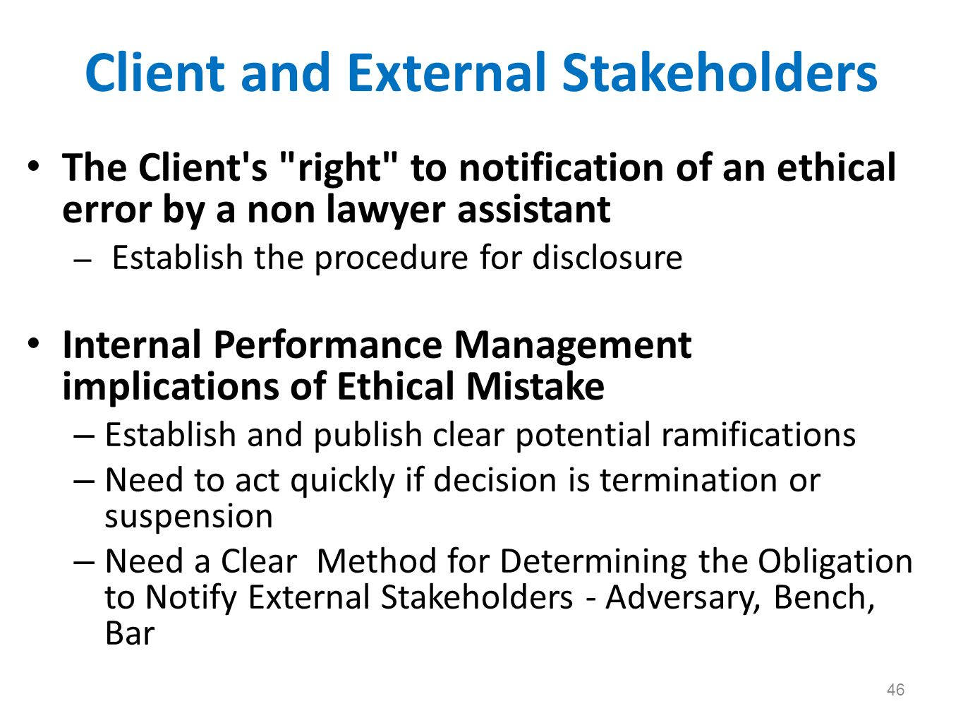Client and External Stakeholders