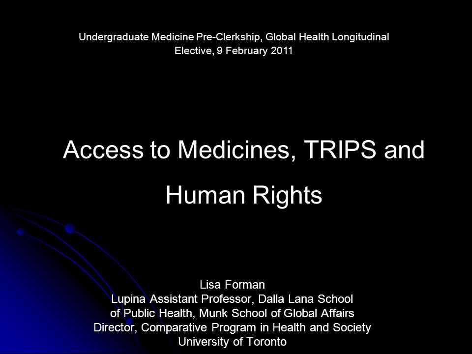 Access to Medicines, TRIPS and Human Rights