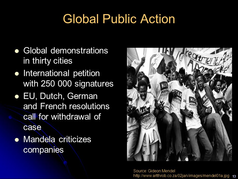Global Public Action Global demonstrations in thirty cities