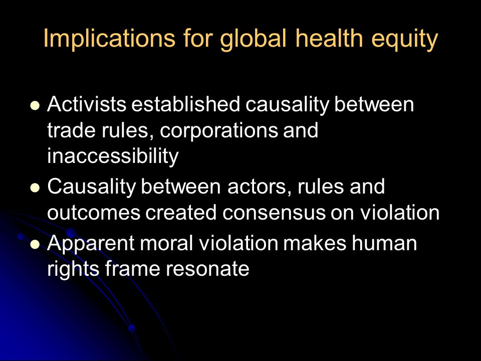 Implications for global health equity