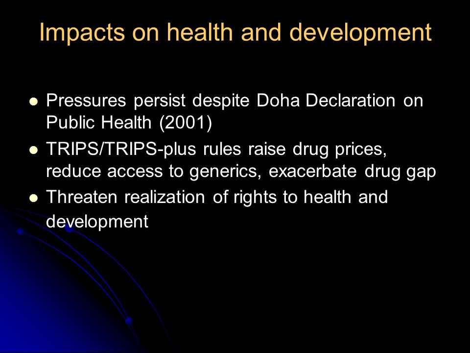 Impacts on health and development