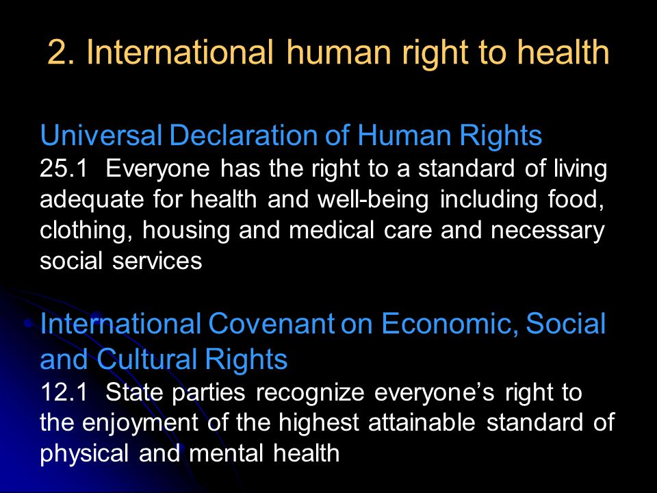 2. International human right to health