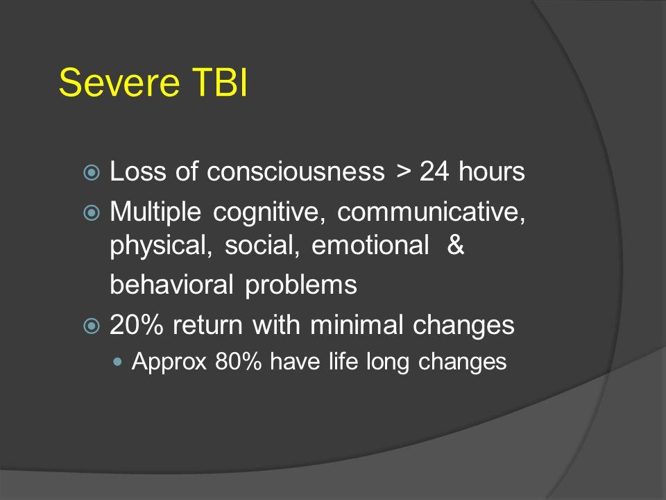 Severe TBI Loss of consciousness > 24 hours