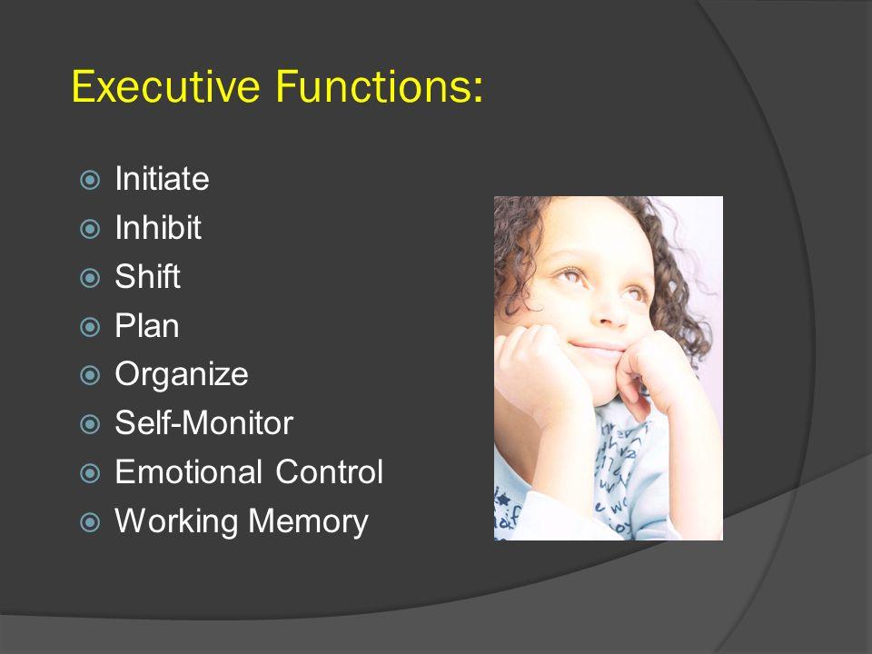 Executive Functions: Initiate Inhibit Shift Plan Organize Self-Monitor