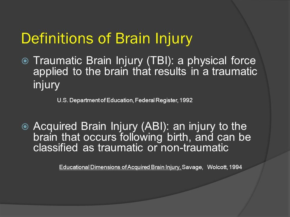 Definitions of Brain Injury