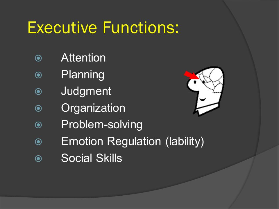 Executive Functions: Attention Planning Judgment Organization