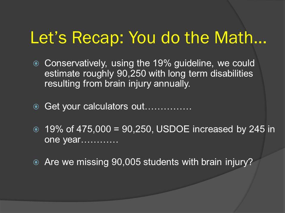 Let's Recap: You do the Math…