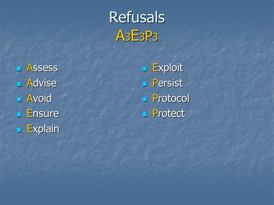 Refusals A3E3P3 Assess Advise Avoid Ensure Explain Exploit Persist
