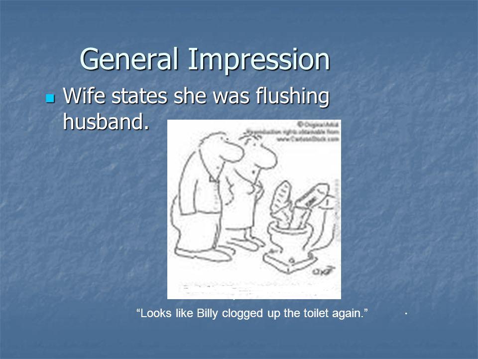 General Impression Wife states she was flushing husband.