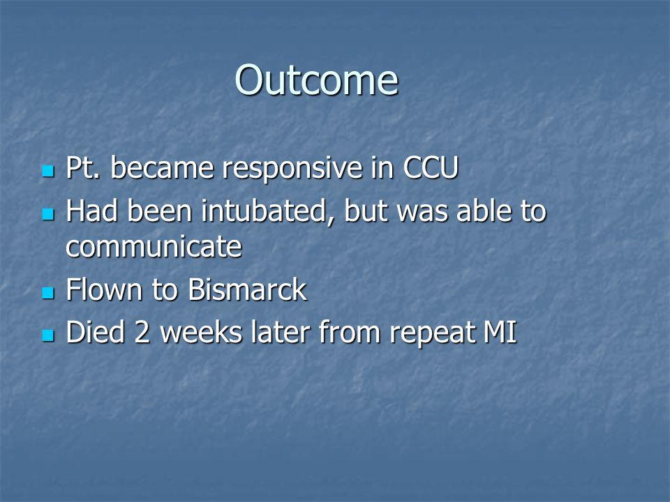 Outcome Pt. became responsive in CCU
