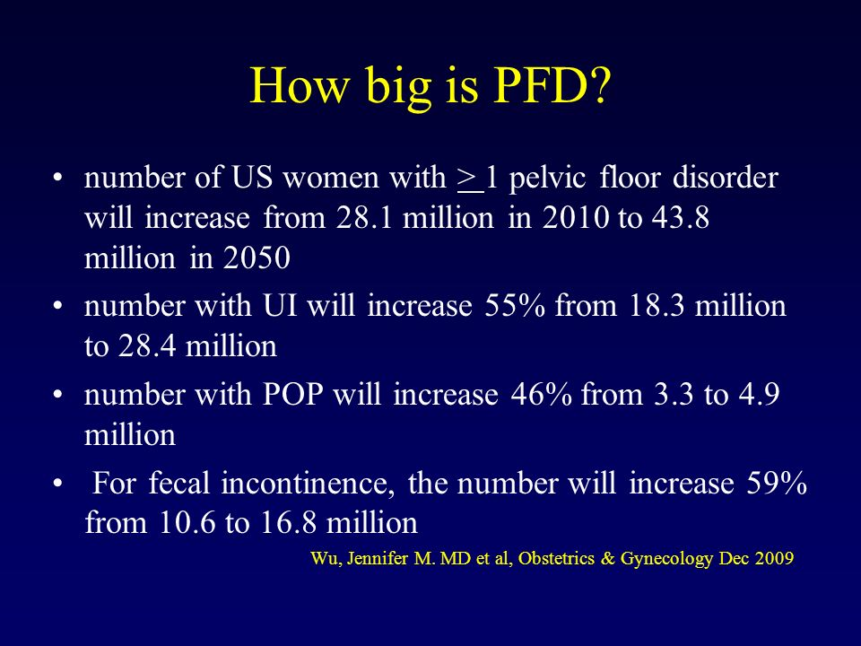 How big is PFD number of US women with > 1 pelvic floor disorder will increase from 28.1 million in 2010 to 43.8 million in 2050.