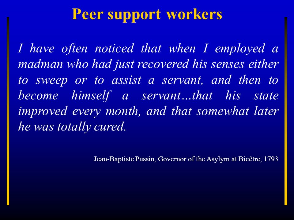Peer support workers
