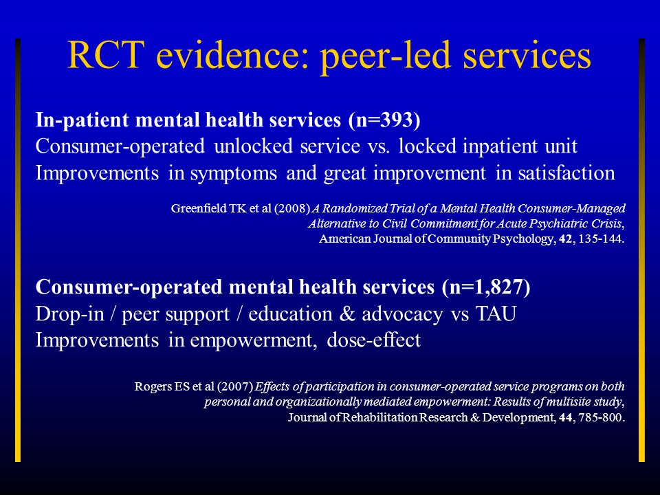 RCT evidence: peer-led services