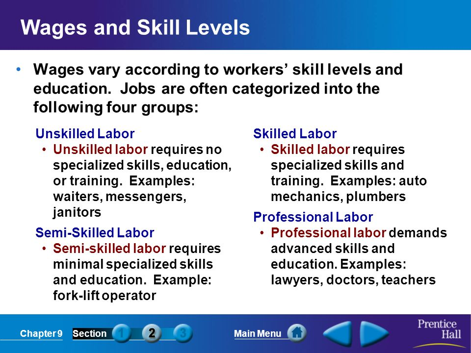 Wages and Skill Levels Wages vary according to workers' skill levels and education. Jobs are often categorized into the following four groups: