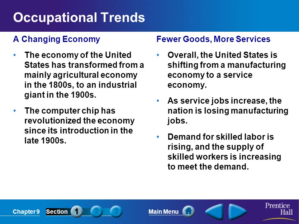 Occupational Trends A Changing Economy