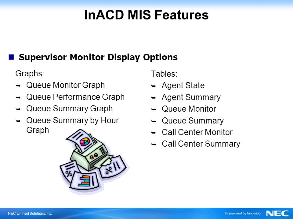 InACD MIS Features Supervisor Monitor Display Options Graphs: Tables: