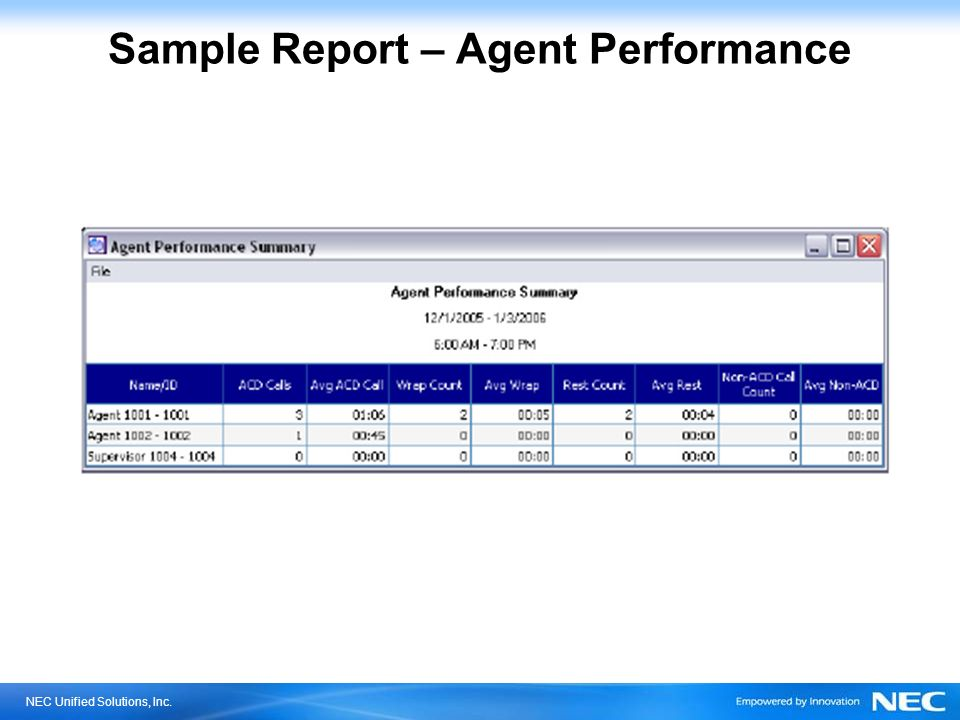 Sample Report – Agent Performance