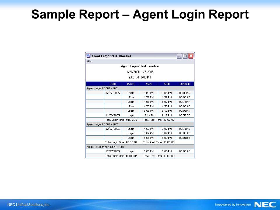 Sample Report – Agent Login Report
