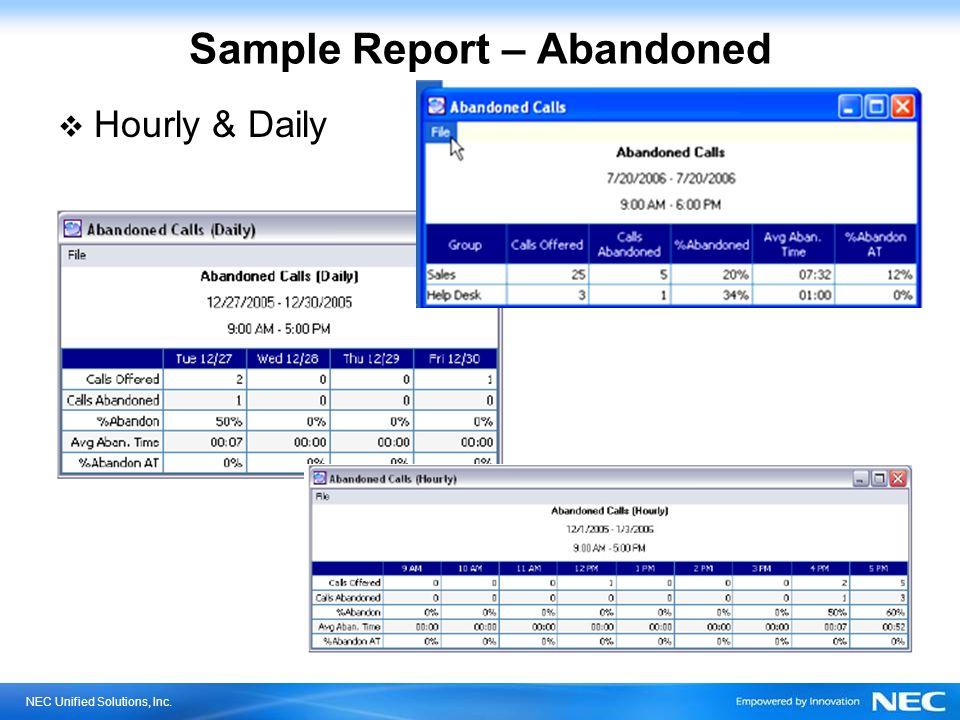 Sample Report – Abandoned