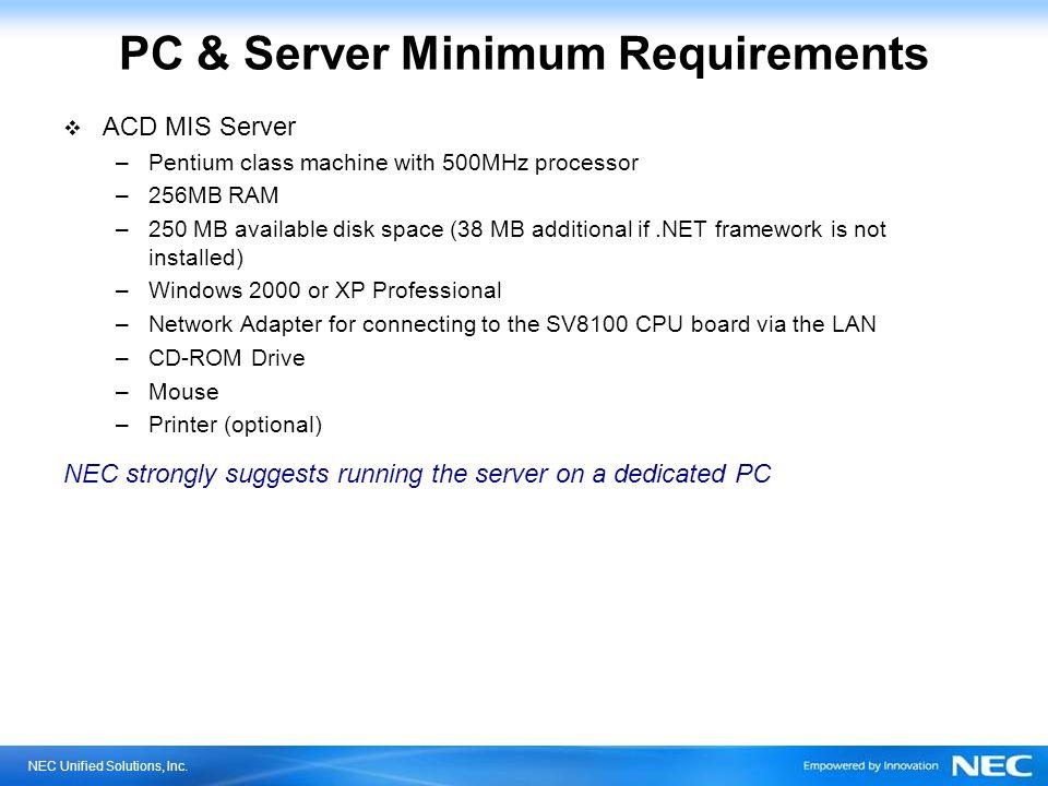 PC & Server Minimum Requirements