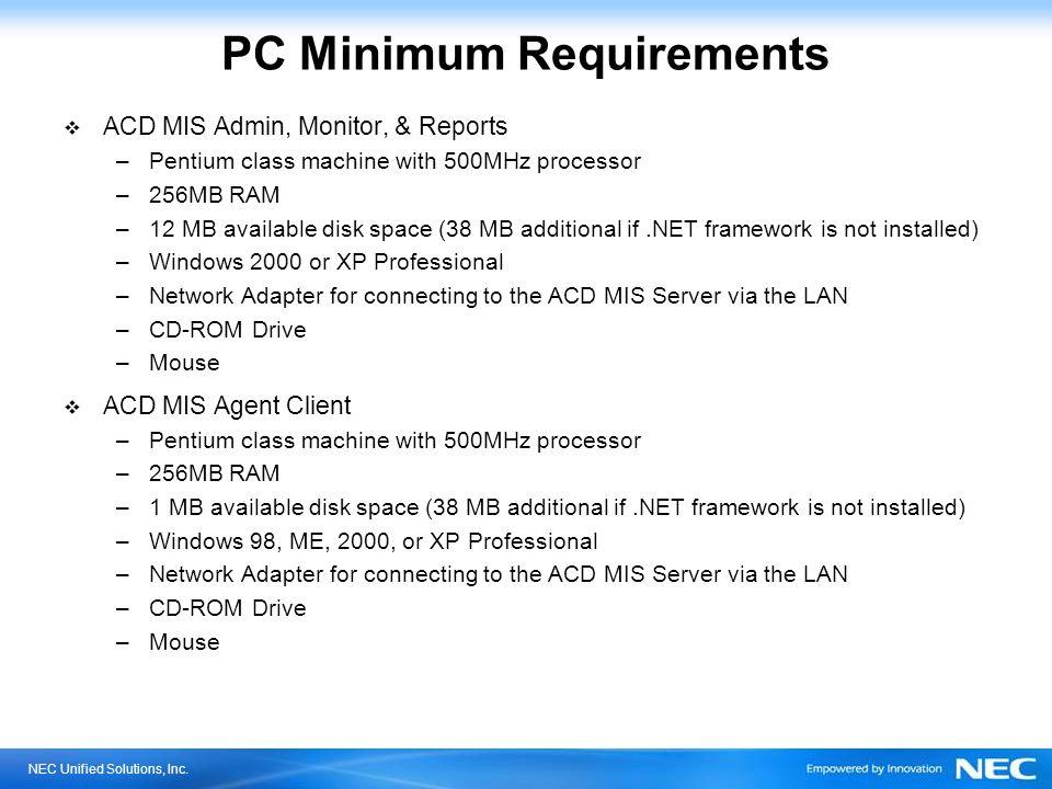 PC Minimum Requirements