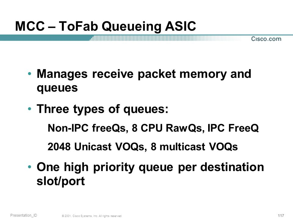MCC – ToFab Queueing ASIC